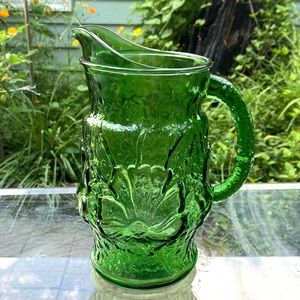 Vintage green glass pitcher floral